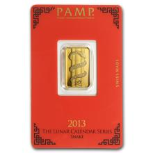 One 5 gram Gold Bar - Pamp Suisse Year of the Snake (In Assay) - WJA88073
