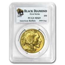 One 2015 1 oz Gold Buffalo MS-69 PCGS (FS, Black Diamond) - WJA86096