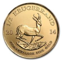 One 2014 South Africa 1/2 oz Gold Krugerrand - WJA79038