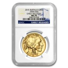 One 2015 1 oz Gold Buffalo MS-70 NGC (Early Releases) - WJA86095
