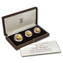 One 1983 Great Britain 3-Coin Gold Sovereign Proof Set 0.8239 oz total - WJA22385