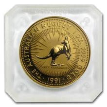 One 1991 Australia 1 oz Gold Nugget BU - WJA67180
