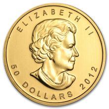One 2012 Canada 1 oz Gold Maple Leaf BU - WJA65068
