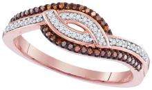 10K Rose Gold Jewelry 0.20 ctw White Diamond & Cognac Diamond Ladies Ring - GD#98557 - REF#Y20H4