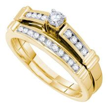14K Yellow Gold Jewelry 0.35 ctw Diamond Bridal Ring Set - GD#46675 - REF#V45T7
