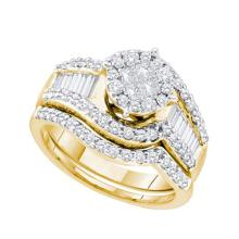 14K Yellow Gold Jewelry 1.24 ctw Diamond Bridal Ring Set - GD#48577 - REF#H114N1