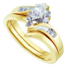 14K Yellow Gold Jewelry 0.20 ctw Diamond Bridal Ring Set - GD#15990 - REF#Y39H7