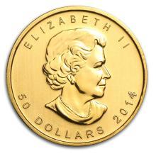 One 2014 Canada 1 oz Gold Maple Leaf BU - WJA79032