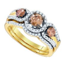 14K Yellow Gold Jewelry 1.01 ctw White Diamond & Cognac Diamond Bridal Ring Set - GD#80387 - REF#R90F1