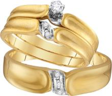 10K Yellow Gold Jewelry 0.09 ctw Diamond Trio Ring Set - GD#18169 - REF#M27U7