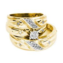 14K Yellow Gold Jewelry 0.20 ctw Diamond Trio Ring Set - GD#20782 - REF#R48F1