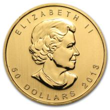 One 2013 Canada 1 oz Gold Maple Leaf BU - WJA71261