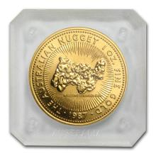 One 1987 Australia 1 oz Gold Nugget BU - WJA82263