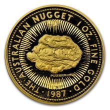 One 1987 Australia 1 oz Proof Gold Nugget - WJA63310