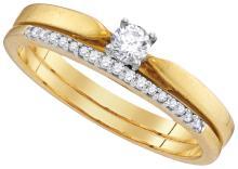 Genuine 0.25 CTW Diamond Bridal Set Ring 10KT Yellow Gold - GD104703-REF#34A3X