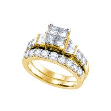 Natural 1.0 ctw Diamond Bridal Set Ring 14K Yellow Gold - GD70282-REF#161A9N