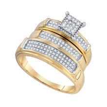 Genuine 0.35 CTW Diamond Trio Set Ring 10KT Yellow Gold - GD75800-REF#59R4H