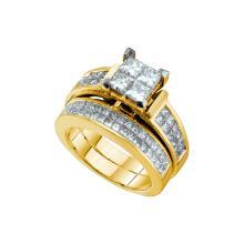 Natural 2.50 ctw Diamond Bridal Set Ring 14K Yellow Gold - GD38829-REF#449K8T