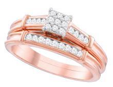 Natural 0.20 ctw Diamond Bridal Set Ring 10K Rose Gold - GD110607-REF#41A3N