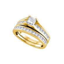 Natural 1.50 ctw Diamond Bridal Set Ring 14K Yellow Gold - GD70276-REF#243H2R