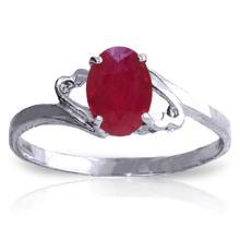 Genuine 1.15 ctw Ruby Ring Jewelry 14KT White Gold - GG-1639-REF#24F5Z