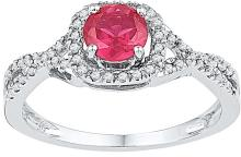 Genuine 0.82 CTW Ruby & Diamond Ladies Ring 10KT White Gold - GD103831-REF#26T9K
