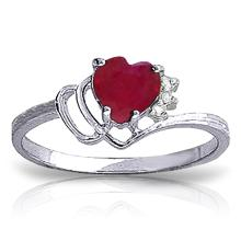 Genuine 1.02 ctw Ruby & Diamond Ring Jewelry 14KT White Gold - GG-4335-REF#35T5A