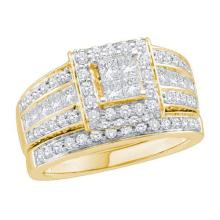 14K Yellow Gold Jewelry 1.65 ctw Diamond Bridal Ring Set - GD#44607 - REF#V168T1