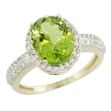 Natural 2.56 ctw Peridot & Diamond Engagement Ring 14K Yellow Gold - SC#CY411138 - REF#X35R2