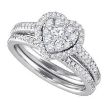 14K White Gold Jewelry 0.77 ctw Diamond Bridal Ring Set - GD#86818 - REF#G84V1