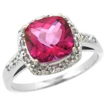 Natural 3.92 ctw Pink-topaz & Diamond Engagement Ring 10K White Gold - SC#CW906136 - REF#N20Y2