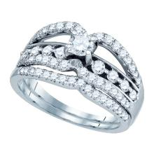 14K White Gold Jewelry 0.93 ctw Diamond Bridal Ring Set - GD#73505 - REF#Y108H1