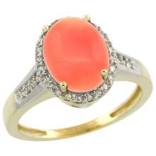 Natural 2.49 ctw Coral & Diamond Engagement Ring 14K Yellow Gold - SC#CY445109 - REF#X30R2