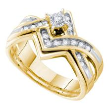 14K Yellow Gold Jewelry 0.25 ctw Diamond Bridal Ring Set - GD#16932 - REF#U39K7