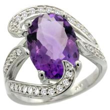 Natural 6.22 ctw amethyst & Diamond Engagement Ring 14K White Gold - SC#R308101W01 - REF#G102V1