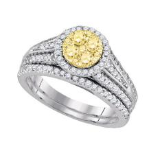 14K White Gold Jewelry 1.0 ctw White Diamond & Yellow Diamond Bridal Ring Set - GD#87732 - REF#T108G1