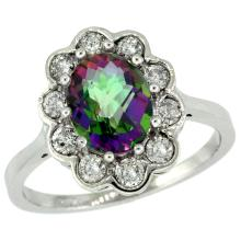Natural 2.34 ctw Mystic-topaz & Diamond Engagement Ring 10K White Gold - SC#10C319661W08 - REF#K52M8