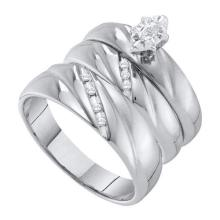 10K White Gold Jewelry 0.17 ctw Diamond Trio Ring Set - GD#56445 - REF#U39K7