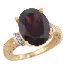 Natural 5.53 ctw Garnet & Diamond Engagement Ring 10K Yellow Gold - SC#CY910200 - REF#Y40H4