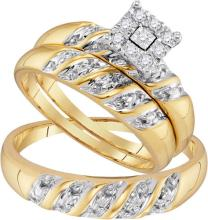 10K Yellow Gold Jewelry 0.13 ctw Diamond Trio Ring Set - GD#96748 - REF#Y27H7