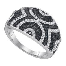 10K White Gold Jewelry 0.50 ctw White Diamond & Black Diamond Ladies Ring - GD#89363 - REF#R30F1
