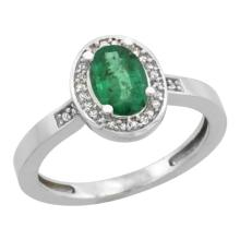 Natural 1.08 ctw Emerald & Diamond Engagement Ring 14K White Gold - SC#CW452150 - REF#X28R4