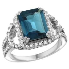 Natural 3.08 ctw london-blue-topaz & Diamond Engagement Ring 14K White Gold - SC#R292071W05 - REF#Z80W9