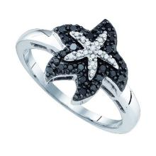 10K White Gold Jewelry 0.22 ctw White Diamond & Black Diamond Ladies Ring - GD#77325 - REF#Y15H6