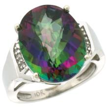 Natural 11.02 ctw Mystic-topaz & Diamond Engagement Ring 14K White Gold - SC#CW408131 - REF#M49U7