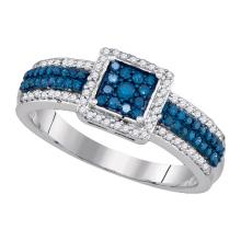 Fine Silver Jewelry 0.50 ctw White Diamond & Blue Diamond Ladies Ring - GD#81872 - REF#F15X6