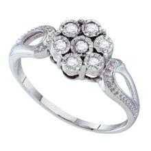 Fine Silver Jewelry 0.12 ctw Diamond Ladies Ring - GD#55766 - REF#Y2H5