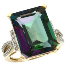 Natural 12.14 ctw Mystic-topaz & Diamond Engagement Ring 10K Yellow Gold - SC#CY908134 - REF#K40M1
