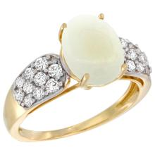 Natural 1.76 ctw opal & Diamond Engagement Ring 14K Yellow Gold - SC#R289771Y20 - REF#Y43H8