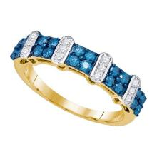10K Yellow Gold Jewelry 0.70 ctw White Diamond & Blue Diamond Ladies Ring - GD#75846 - REF#U32K4